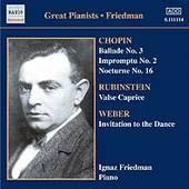FRIEDMAN, Ignaz: Complete Recordings, Vol. 5: English Columb